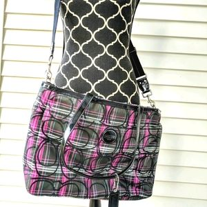 EUC Black & Pink Signature C's Coach Diaper Bag